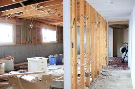 basement demo progress load bearing wall open