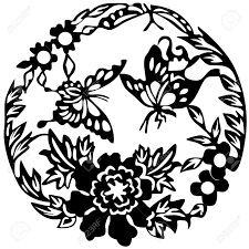ancient japanese tattoo butterflies and flowers royalty free