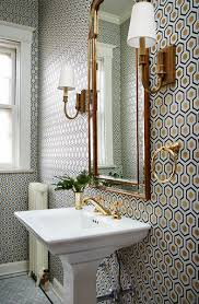 Wallpaper Designs For Bathrooms by Small Bathroom With A Lot Of Pattern On Wall Wallpaper Gold