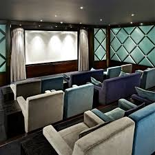 panelled walls home theater decorating ideas with recessed lights and curtain