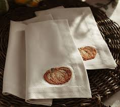 pumpkin embroidered napkin set of 4 pottery barn