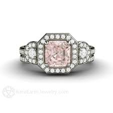morganite bridal set morganite bridal set engagement ring 1ct asscher halo earth