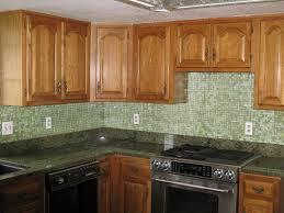 decorative stained glass tile backsplash kitchen ideas l shape kitchen decoration using light green mosaic kitchen glass