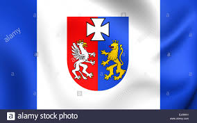 flag of podkarpackie voivodeship poland close up stock photo