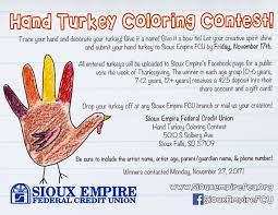 Friday After Thanksgiving Federal Sioux Empire Federal Credit Union 2017 Turkey Coloring Contest