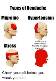 A Meme - types of headache migraine ypertension laughing at a meme before