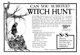 witch hunt rpg ad from 1984
