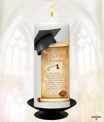 graduation candles naturally graduation cap on top of scroll 6inch white