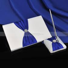 guest book and pen set royal blue bow decorative satin white guest book and pen set