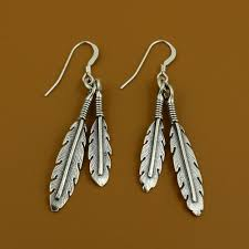 silver feather earrings sterling silver feather earrings