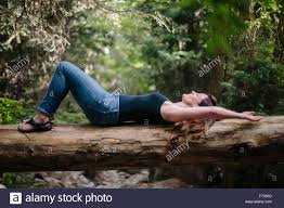 lying on back on a fallen tree trunk in a forest stock