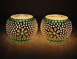 tiedribbons green fushion mosaic glass tealight holder votive set