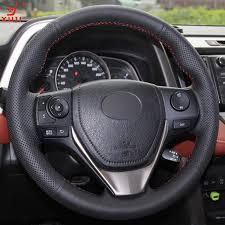 toyota rav4 steering wheel cover aliexpress com buy xuji black leather stitched car steering