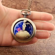 vintage necklace pocket watch images Retro antique bronze little prince pocket watch vintage flip fob jpg