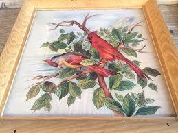 cardinal home decor victorian red cardinal bird linen fabric framed chinoiserie