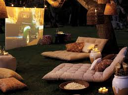 romantic outdoor cinema with soft furishing romantic places