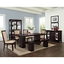 rustic stained mahogany wood dining table and upholstered chairs