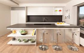 Kitchen Island With Bookshelf Gray Countertop White Island With Open Shelves Glass Stainless