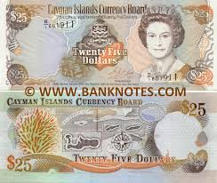 twenty five dollars cayman islands 25 dollars 1996 caymanian currency bank notes