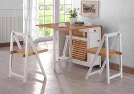 bare wood and white folding dining room tables for narrow spaces