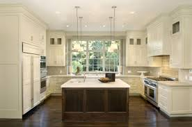 neutral kitchen ideas with brown teak kitchen island and brown