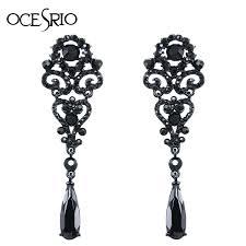 black dangle earrings ocesrio big black earrings hollow out big earrings
