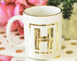 Gold Coffee Mug Monogram Coffee Mug Etsy