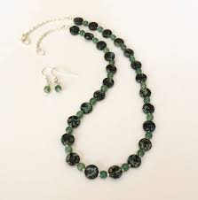 beaded jewelry set glass bead necklace set green black necklace