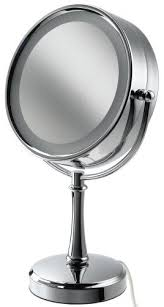 black touch control lighted makeup mirror conair be87cr touch control lighted round mirror polished chrome by