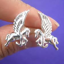 unicorn pegasus flying horse stud earrings in sterling silver