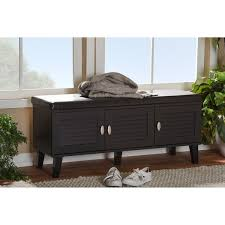 baxton studio sheffield modern contemporary 3 door dark brown wood