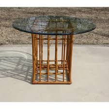 vintage glass top dining table vintage rattan round glass top dining table base only chairish
