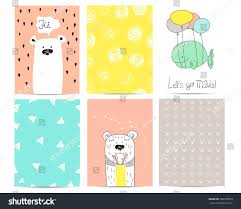 cute hand drawn cards baby shower stock vector 368768903