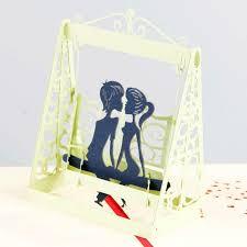 10pcs lot lover couples swing 3d pop up card handmade paper