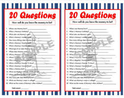 baby shower questions 20 questions camouflage printable party baby