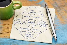 ikigai concept a reason for being napkin sketch stock photo