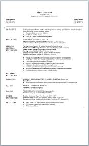 nursing student resume for internship template nursing student resume template