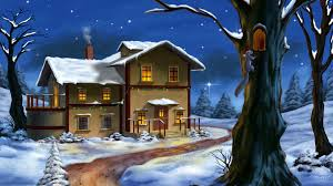 Christmas Decorated Home by Winter Snow Christmas Decorated Home Photos Desktop Wallpaper