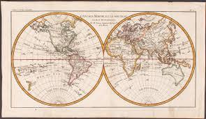 World Map Hemispheres sold 1784 bonne l u0027ancien monde et le nouveau en deux