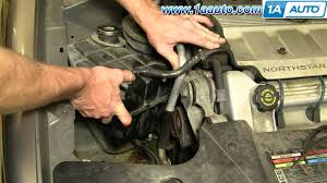 how to install replace radiator coolant tank cadillac deville