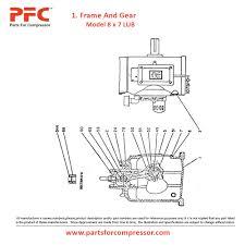 13 3 rahmen und getriebe für ingersoll rand modell 8 x 7 lub