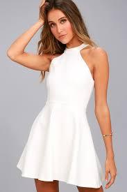 white lace dress chic white dress skater dress lace dress halter dress
