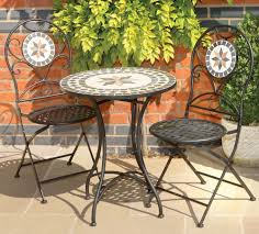 Patio Furniture Bistro Sets - garden bistro set chairs table mosaic black metal ceramic stone
