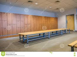 public changing rooms with bench and lockers stock photo image