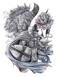 st george a lion and a rose half sleeve design the art of