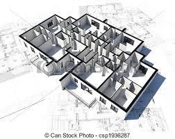 3d image of a floor plan and some blueprints stock illustrations