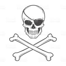 jolly roger with eyepatch and crossbones template evil skull stock
