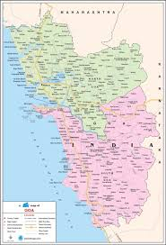 Map Of India With States by Goa Travel Map Goa State Map With Districts Cities Towns
