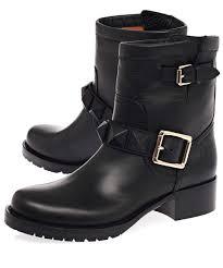 black leather biker boots valentino black leather lock stud biker boots in black lyst