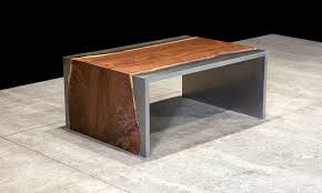 steel and wood table and wood coffee table by johnhoushmand